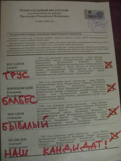 Russian elections for President 2008, funny ballots 10