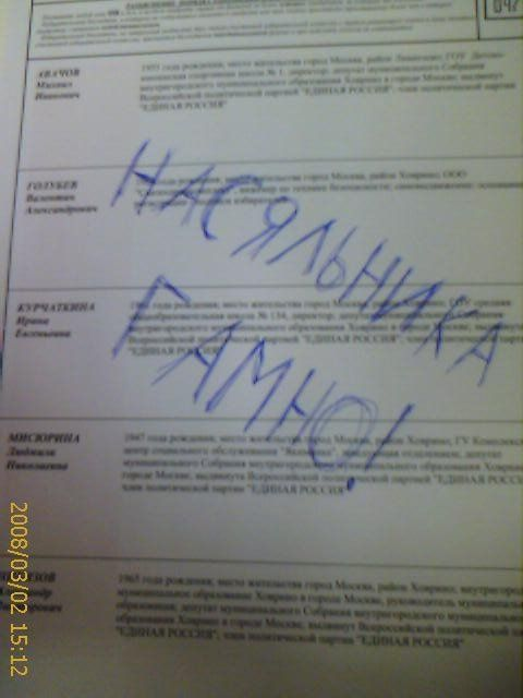 Russian elections for President 2008, funny ballots 14