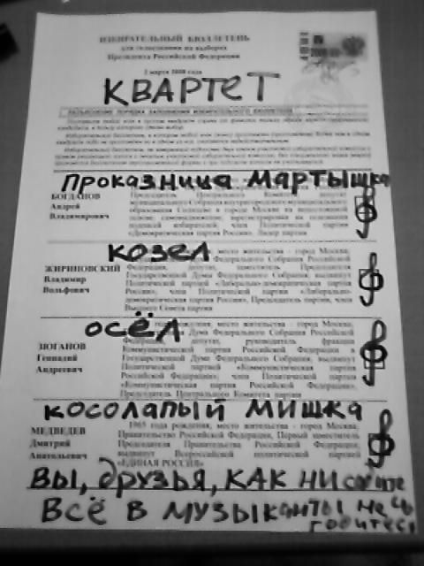 Russian elections for President 2008, funny ballots 16