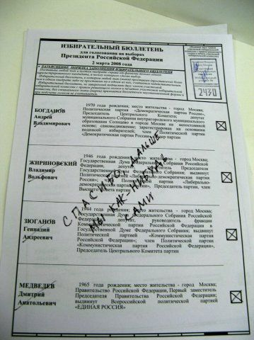 Russian elections for President 2008, funny ballots 21