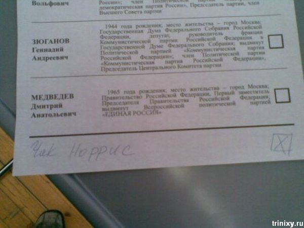 Russian elections for President 2008, funny ballots 27