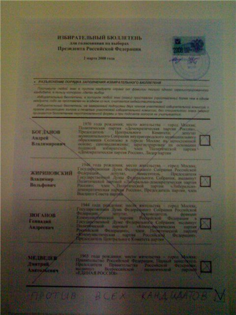 Russian elections for President 2008, funny ballots 9