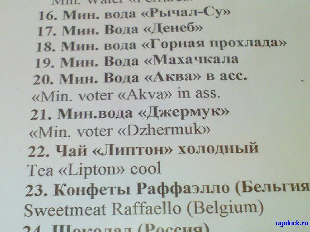 menu on strange English in Russian restaraunt 1