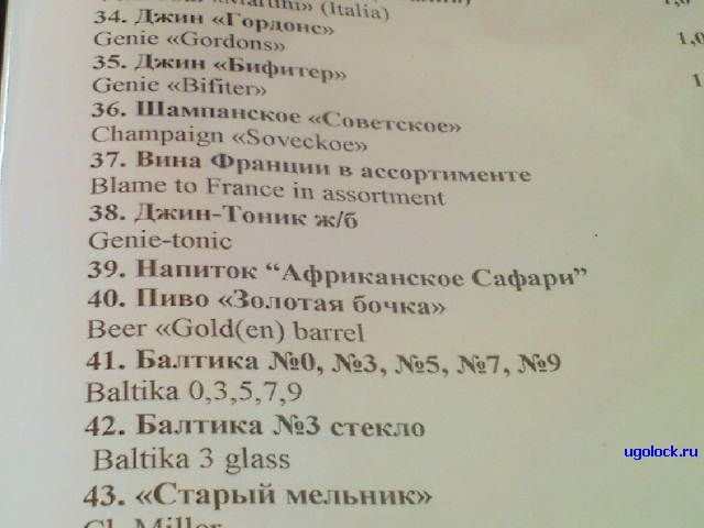 menu on strange English in Russian restaraunt 2