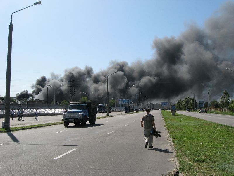 Russian fire in Ukraine ZAZ factory