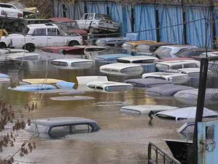 flooded parking in Russia 2