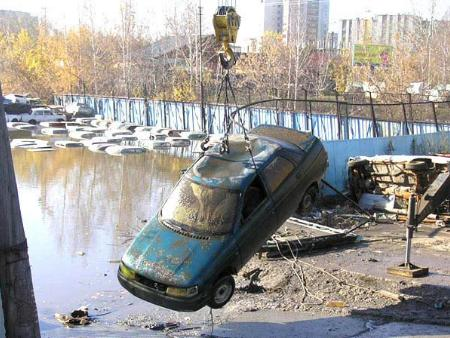 flooded parking in Russia 3