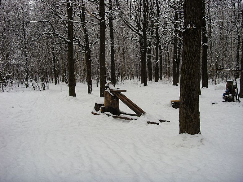 Russian gym in forest