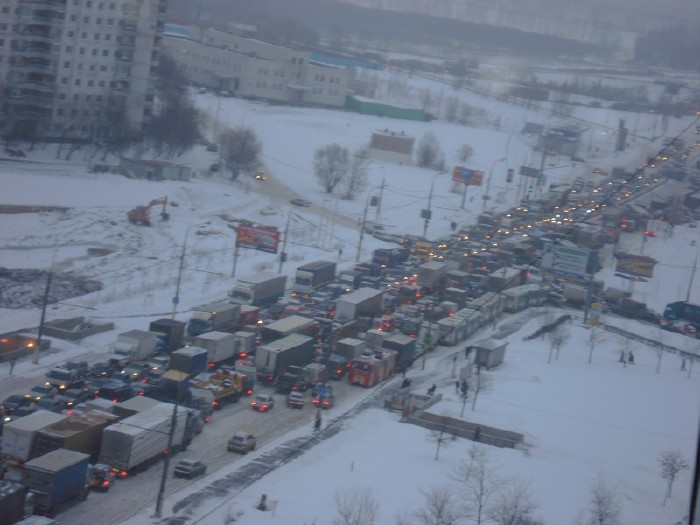traffic jam in winter