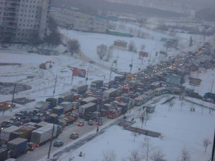 traffic jam in winter