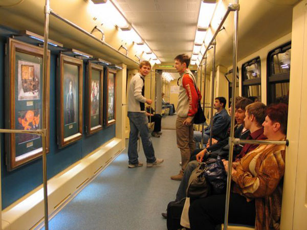 a picture gallery right inside russian metro train 1