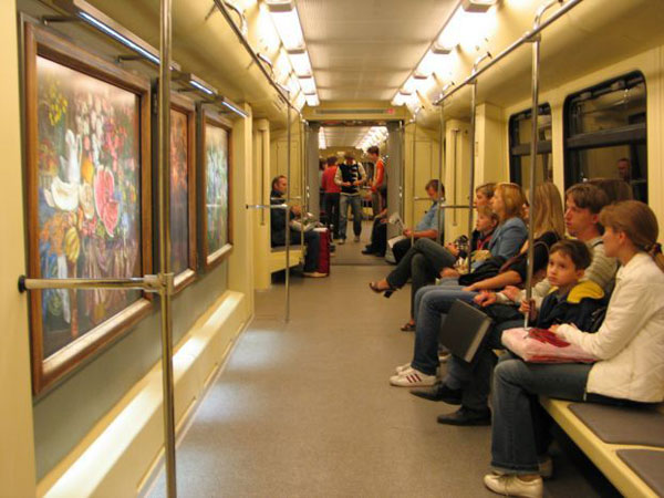 a picture gallery right inside russian metro train 2
