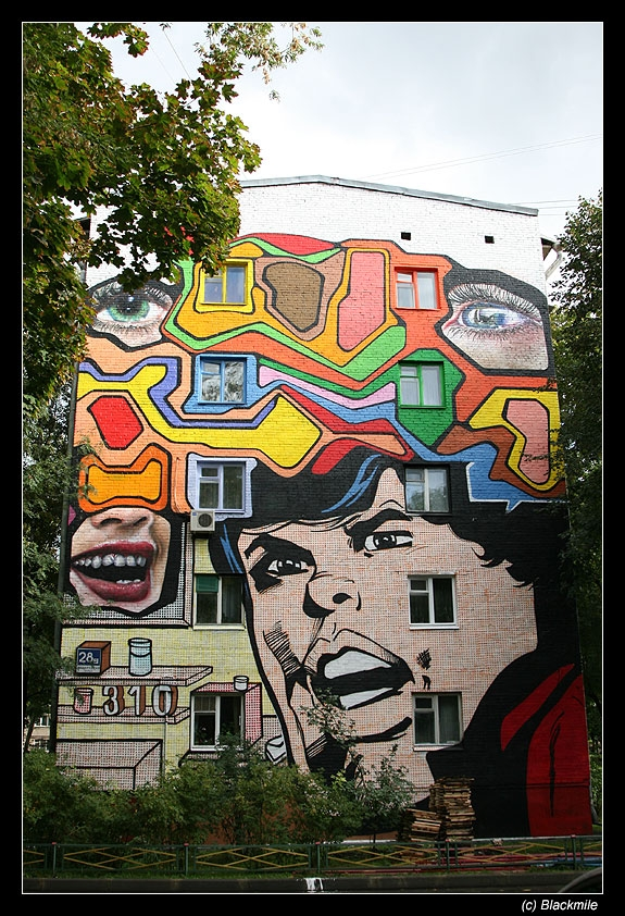 Painted houses in Moscow by graffiti kids 12