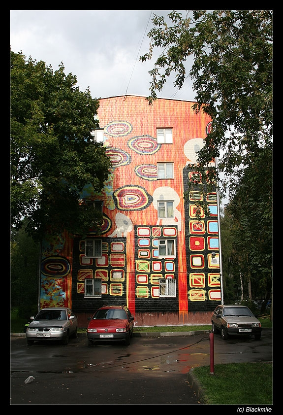 Painted houses in Moscow by graffiti kids 13