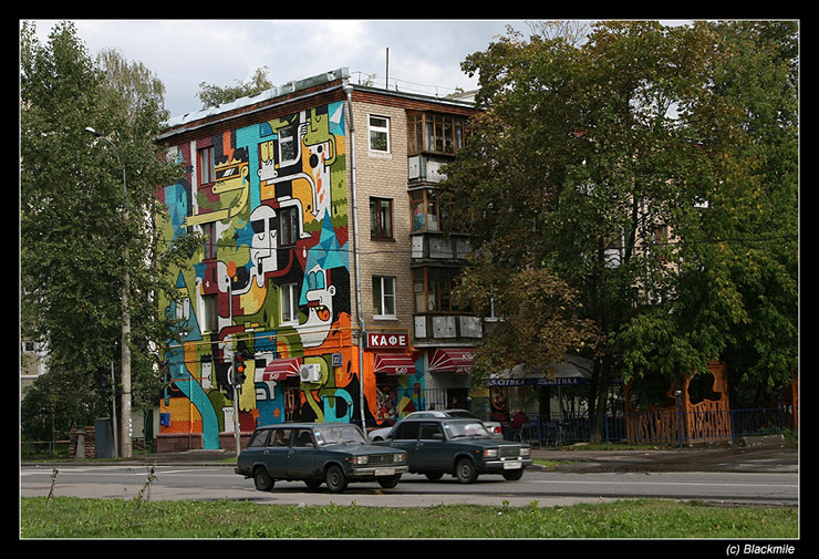 Painted houses in Moscow by graffiti kids 14