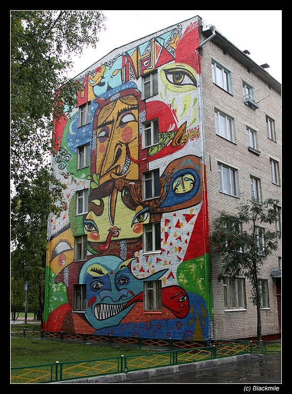 Painted houses in Moscow by graffiti kids 3