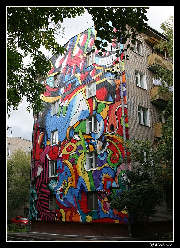 Painted houses in Moscow by graffiti kids 5