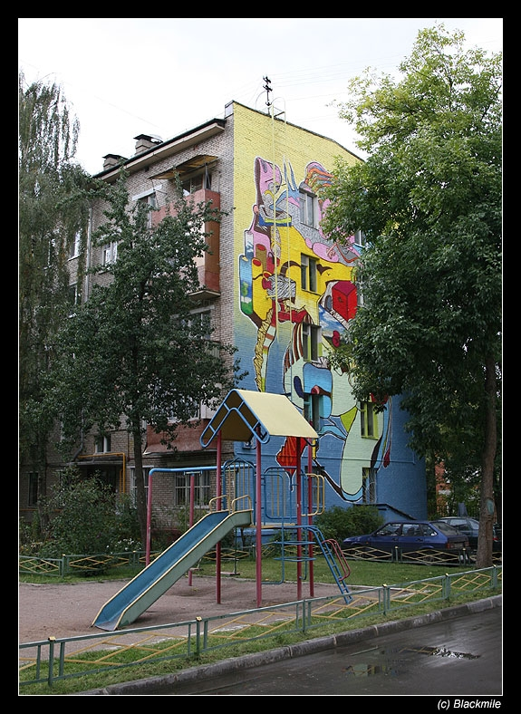 Painted houses in Moscow by graffiti kids 6