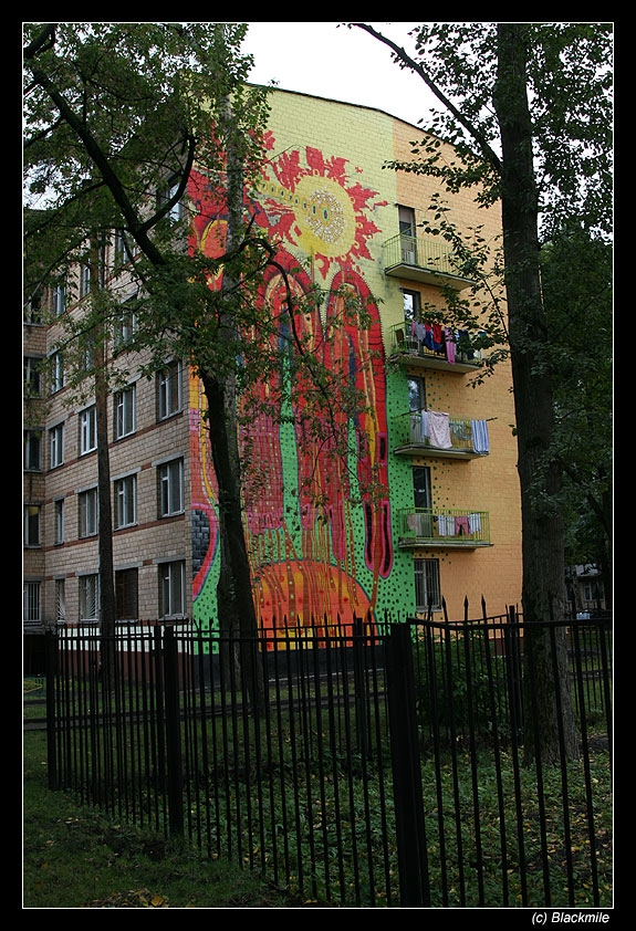 Painted houses in Moscow by graffiti kids 9