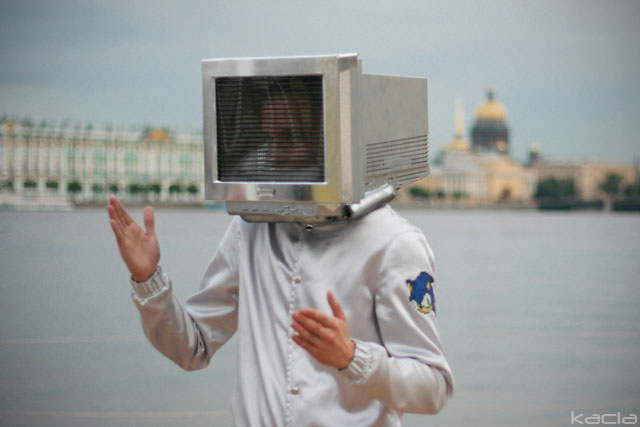 A computer headed human in St. Petersburg 2