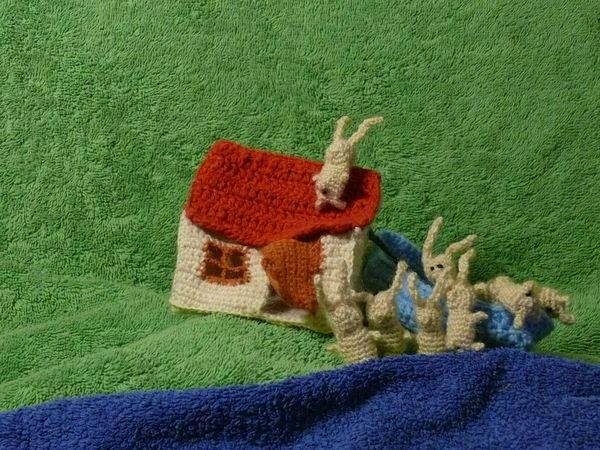 Russian knitted hares 11