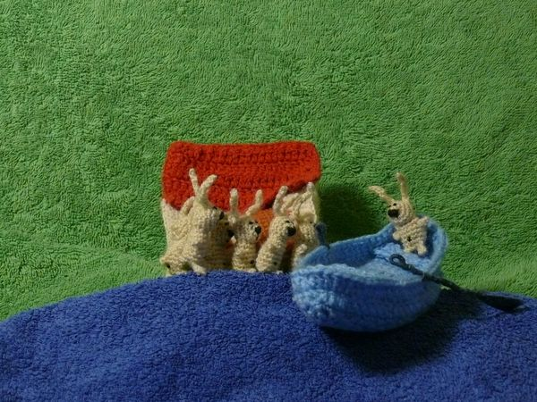 Russian knitted hares 12