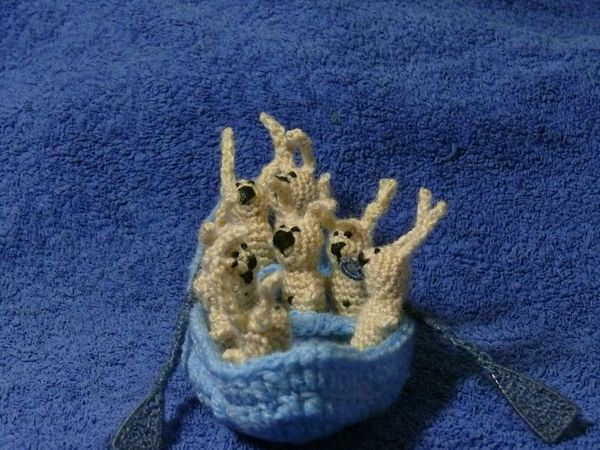 Russian knitted hares 14