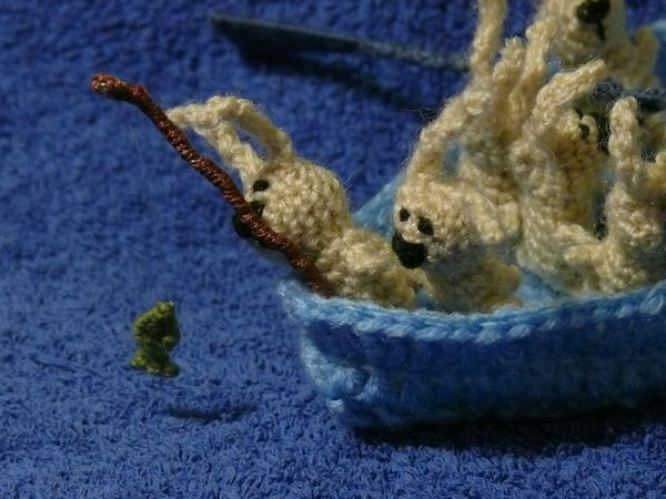 Russian knitted hares 15