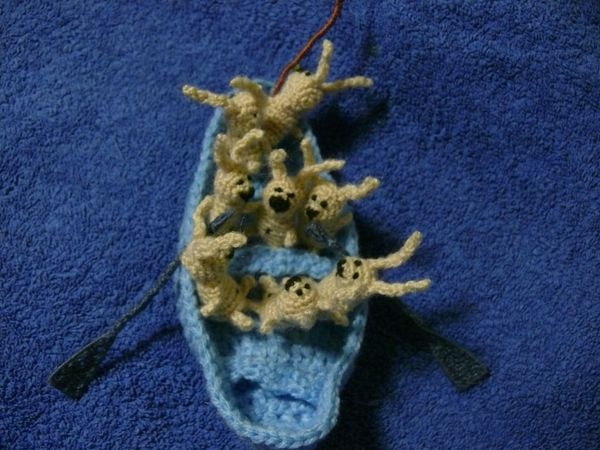 Russian knitted hares 16