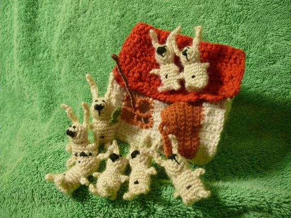 Russian knitted hares 21