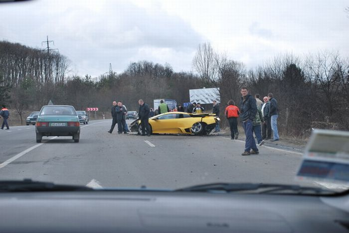 Russian Lamborghini Crash
