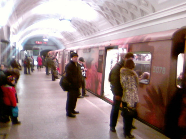 subway train in Moscow looking like museum 2