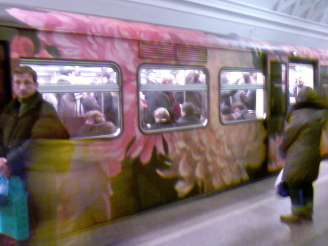 subway train in Moscow looking like museum 3