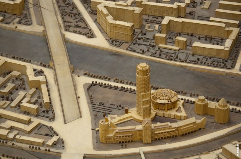 1/500th scale miniature of a Moscow building