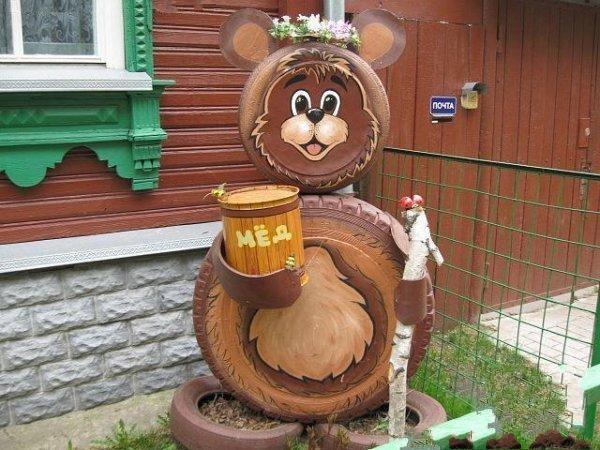 Поделки из шин медведя своими руками