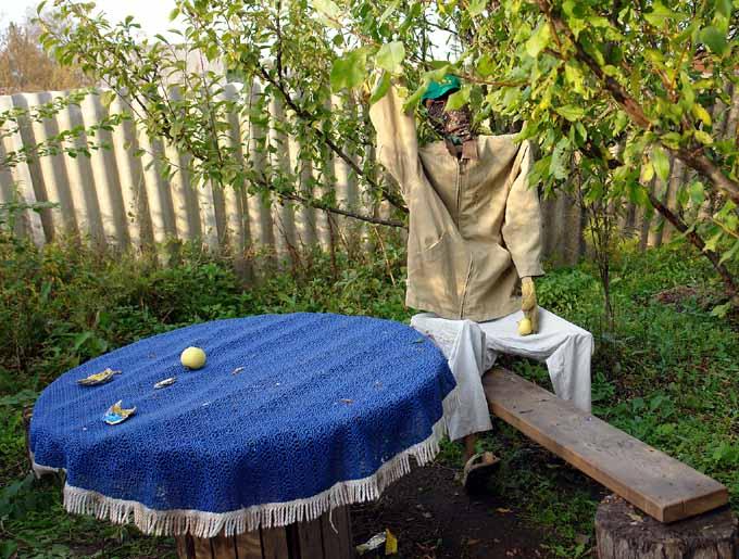 strange scarecrow in Russian garden 8