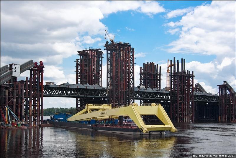 Huge Construction of the Bridge Across The Dnepr