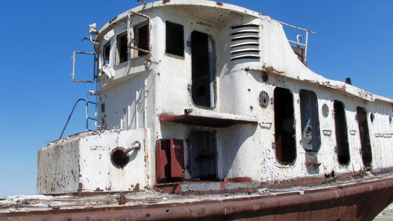 Abandoned Soviet Scientific ship laying in the dried Aral sea