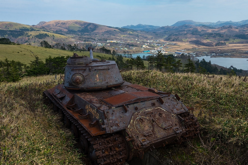 Abandoned Soviet Tanks on Shikotan Island Next to Japan