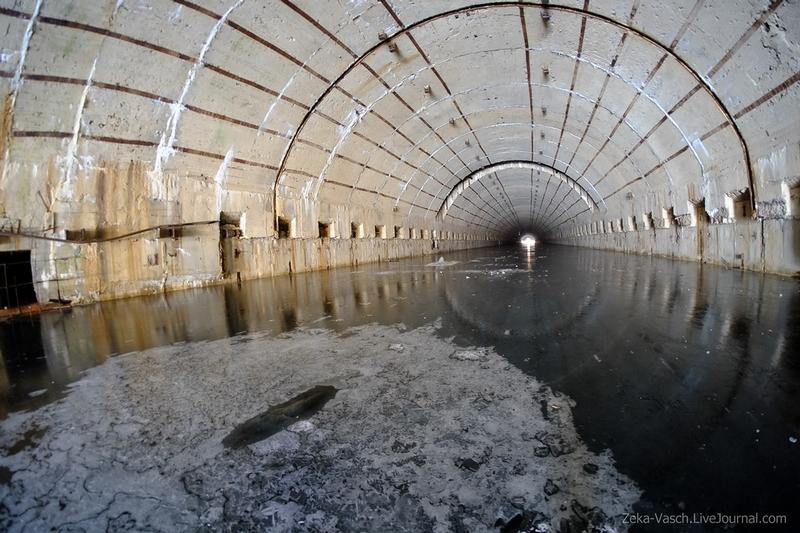 Huge Underground Submarine Shelter Covered in Ice