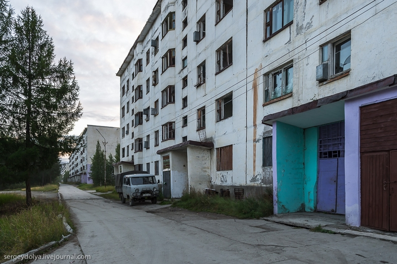 Almost abandoned Russian city - Sinegorye near Magadan Russia