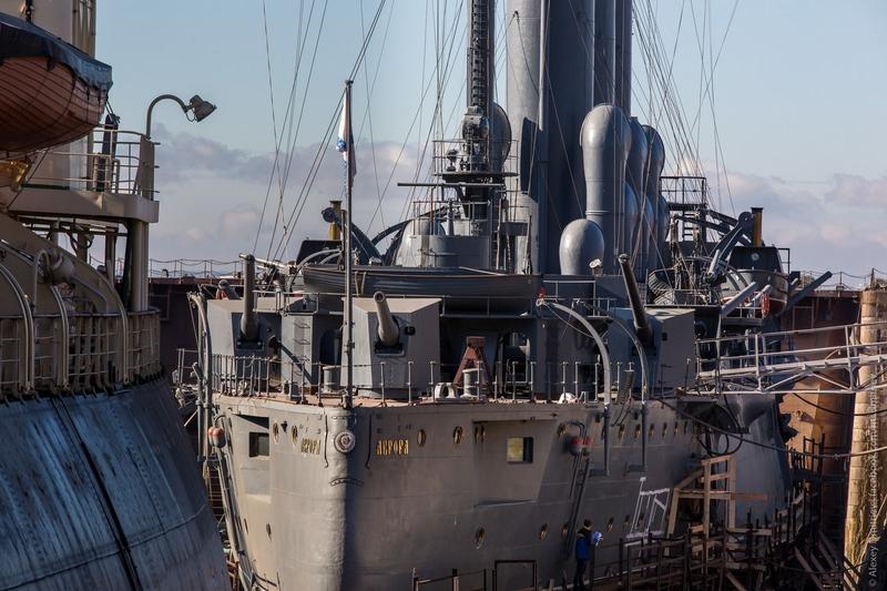 Battleship Aurora in the Docks