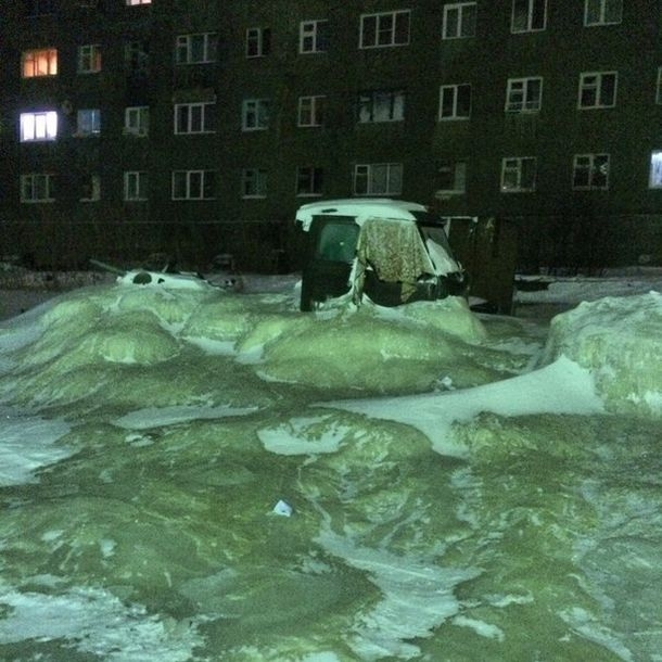 another frozen flood accident  freezing town of dudinka