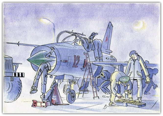 Funny Comics by Soviet Air Force Technician About His Life and Work