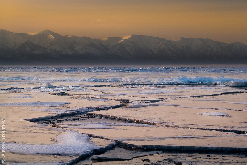 Dangerous Ice Roads of the Baikal Lake in Spring