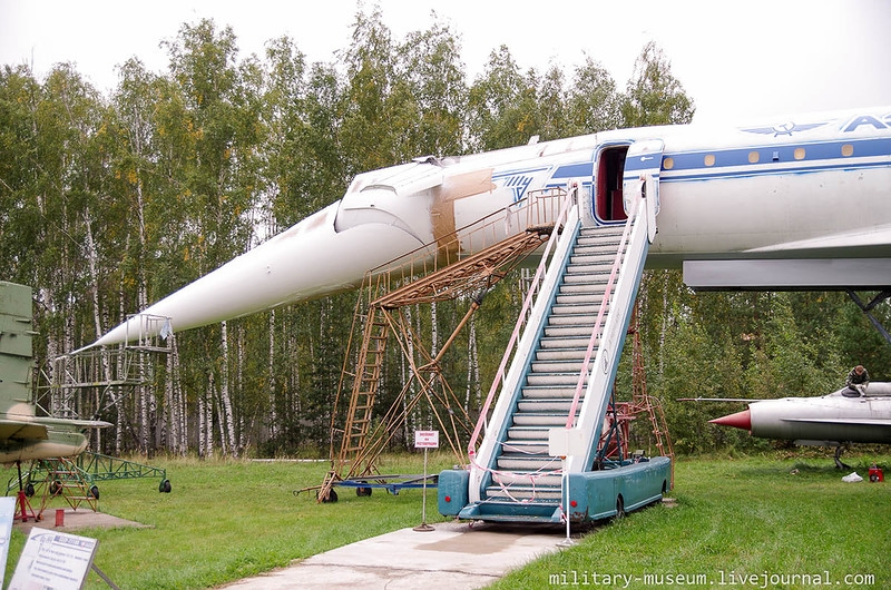 Russian TU-144 supersonic passenger jet in Monino museum Moscow