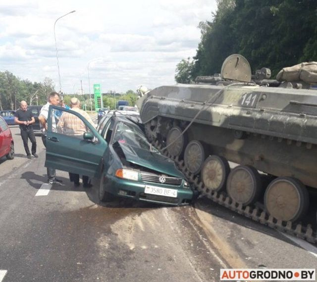 Armored Vehicle Smashed a Car in Grodno, Belarus [photos, video]