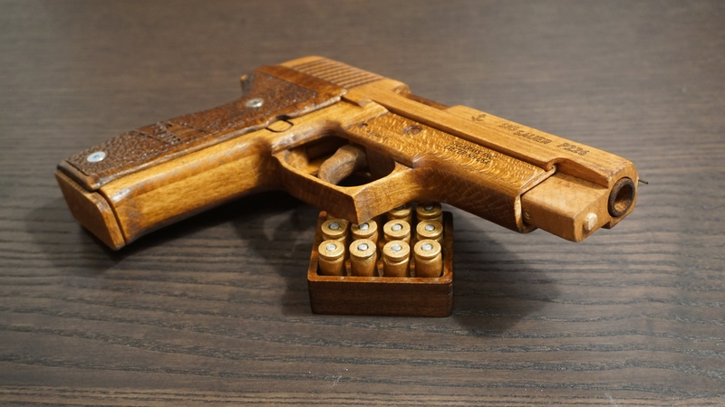 Photos of SigSauer Pistol Fully Sawed out of Wood
