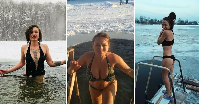 Russian Females Who Couldn't Wait for Baptism Day Ice Water Bathing [25 photos + 3 videos]