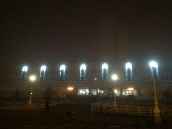 Russian City Omsk during Fog